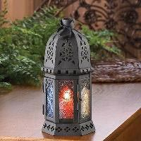Colored Glass Moroccan Iron Candle Lantern
