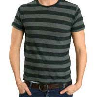 Mens Round Neck Striped T Shirts