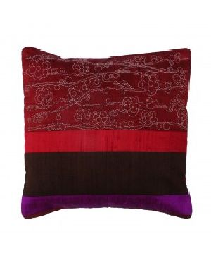 Black And Maroon Silk Patchwork Cushion Cover