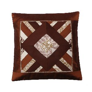 Brown Silk Patchwork Cushion Cover