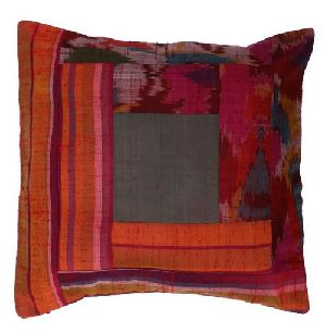 Multicoloured Silk Patchwork Cushion Cover