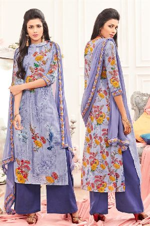 Alluring Blue Colored Cotton Casual Salwar Kameez