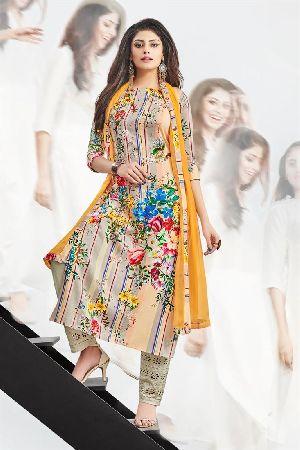 Charming Craem Colored Cotton Satin Churidar Suit
