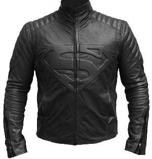 Superman Man Of Steel Black Shield Real Genuine Leather Jacket Xs-3xl