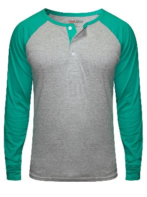 Mens Full Sleeve Henley Neck T-shirts