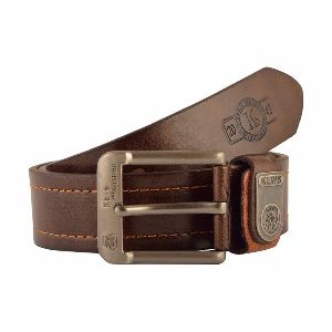 Mens Plain Dark Brown Leather Belt