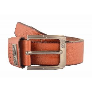 Mens Plain Light Brown Leather Belt