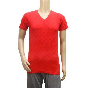 Mens Plain Red V Neck T-shirt