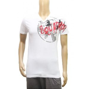Mens Printed White V Neck T-shirt