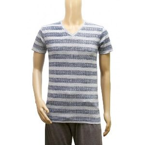 Mens Striped V Neck T-shirt