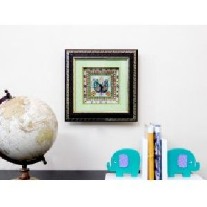 Wooden Frame Peacock Design Marble Wall Clock