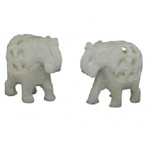 White Marble Elephant Pairwith Baby Inside