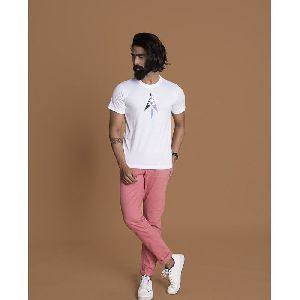 Men T-shirt Round Neck White