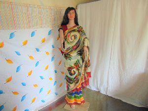 Hand Printed Chiffon Saree