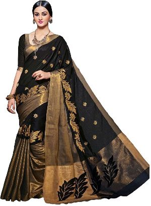 Ak Black Embroidered Sarees