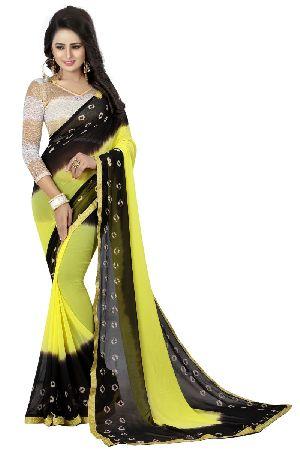 Black Yellow Bandhani Chiffon Sarees