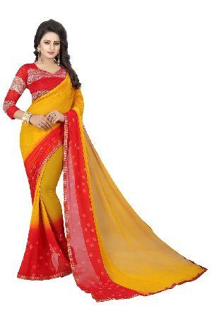 Red Yellow Bandhani Chiffon Sarees