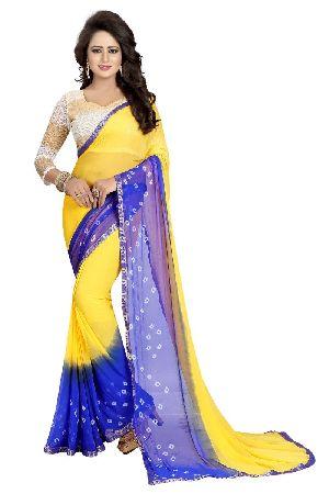 Yellow Blue Bandhani Chiffon Sarees
