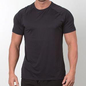 Mens Black Half Sleeve Gym T-Shirt