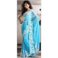 Sky Blue Faux Chiffon Resham Embroidered Saree