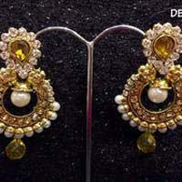 Artificial Gold Pearl Earrings