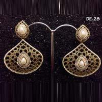White Gold Pearl Earrings