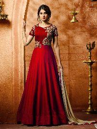 Bollywood Red Designer Silk Anarkali Salwar Suit With Dupatta