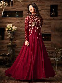 Georgette maroon Anarkali Suit In Wine Colour