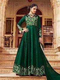 Green Art Silk Floor Length Anarkali Suit