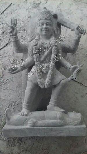 Grey Marble Mahakali Statue