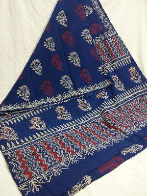 Ajrakh Block Printed Soft Cotton Malmal Sarees With Blouse