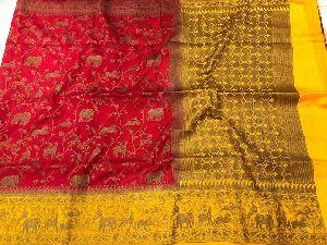 Antique Jal Design Banarasi Dupion Sarees With Contrast Blouse
