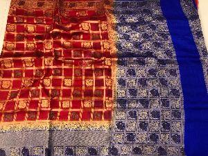 Banarasi Jute Sarees With Checks Buta Design And Contrast Blouse
