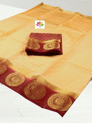 CF non catalog brand Kanchivaram Tussar Silk with chakra Peacock* new hit design to make you more go