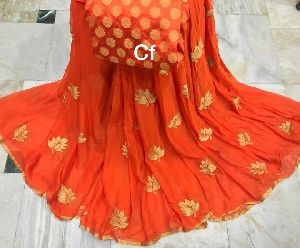 Embroidery Work Chinon Chiffon Sarees