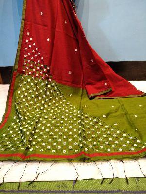 Cut Work Cotton Silk Sarees With Contrast Blouse Piece