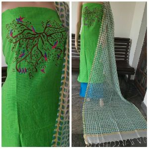 Embroidered Silk Cotton Suits With Printed Dupatta