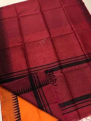 Muga Silk Sarees With Contrast Temple Border And Contrast Blouse