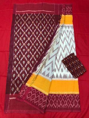 Pochampally Double Ikkat Mercerised Cotton Sarees With Blouse Piece