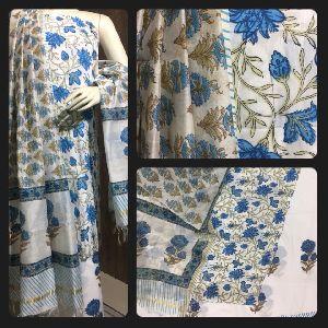 Pure Cotton Block Print Kurta, Cotton Chanderi Dupatta