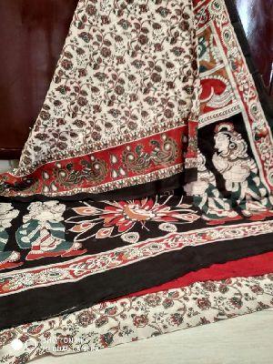 Pure Cotton Hand Block Printed Natural Colour Saree
