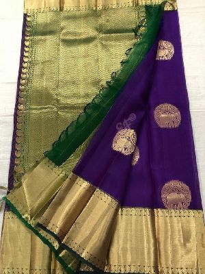 Pure Kanchi Kora Silk Sarees With Contrast Pallu And Brocade Blouse