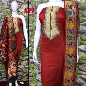 Sd Soft Chanderi Designer Suits, Zari Silk Dupatta