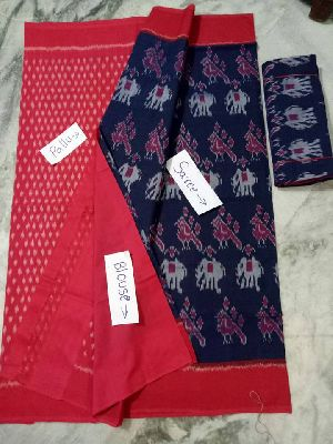 Double ikkat pure mercerized cotton Saree with blouse