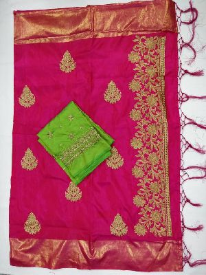 Heavy Embroidery Work Sana Silk Sarees With Blouse