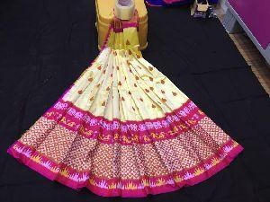 Pochampally Pure Ikkat Silk Lehenga With Blouse