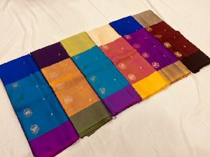 Pure Kanchipuram Handloom Silk Sarees With Contrast Blouse