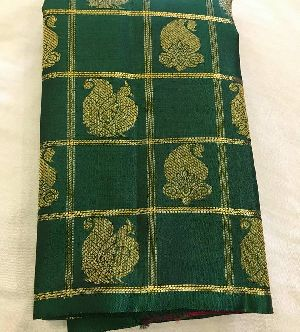 Pure Kanchipuram Silk Handwoven 3g Pure Silver Zari Saree With Contrast Blouse