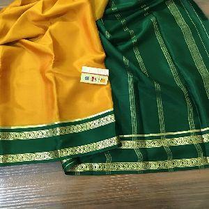 Pure Mysore Crepe Silk Sarees With Traditional Leaf Border