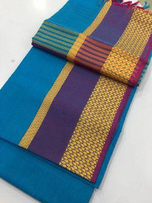 Pure Narayanapeta Handloom Cotton Sarees With Contrast Pallu And Blouse